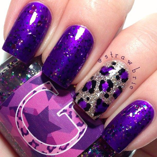 Purple Leopard Nails Strawbrie Nails Pinterest Nail Nail