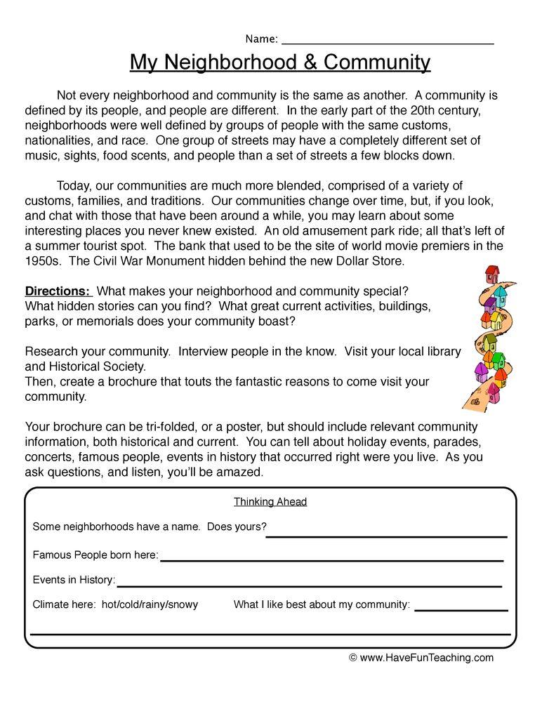 My Neighborhood Worksheet | 2nd grade | Social studies communities ...