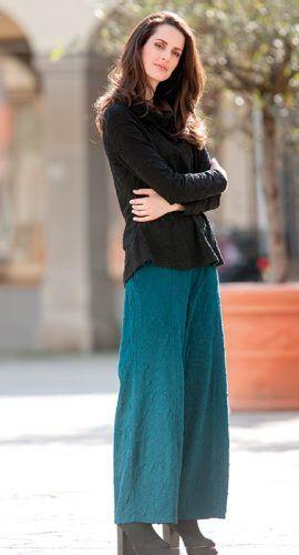 Vegane Mode - Shirt und Hose in Struktur-Jacquard aus Bio Baumwolle mit Modal Edelweiss, Größen S bis XL - Finesse Fashion ©