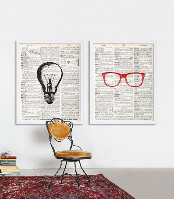 dictionary prints set of two prints large art college posters hipster art glasses print light bulb print loft art art studio decor cool art is part of Art studio decor - Dictionary Prints Set of Two Prints Large Art College Posters Hipster Art Glasses Print Light Bulb Print Loft Art Art Studio Decor Cool Art artStudio Decor