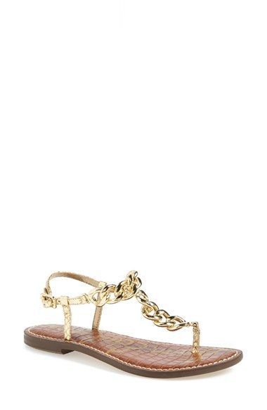 3fd1249cb4f4 Sam Edelman  Grella  Leather   Chain Link Thong Sandal (Women ...