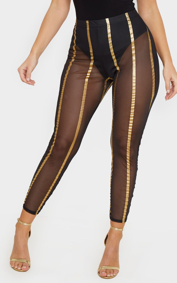 Gold Metallic Mesh Stripe Legging #stripedleggings