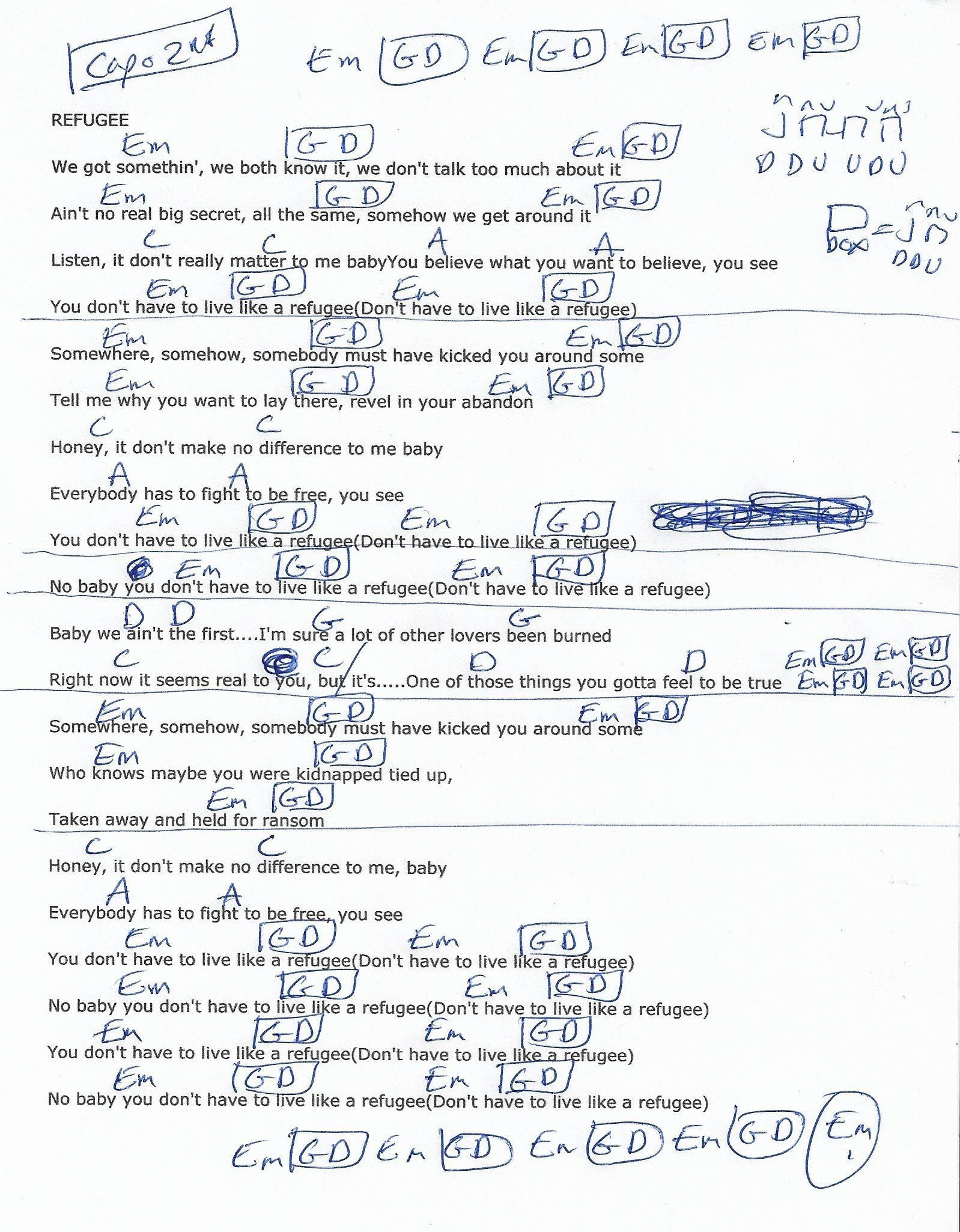 Refugee Tom Petty Guitar Chord Chart  Capo Nd Fret  Sheet