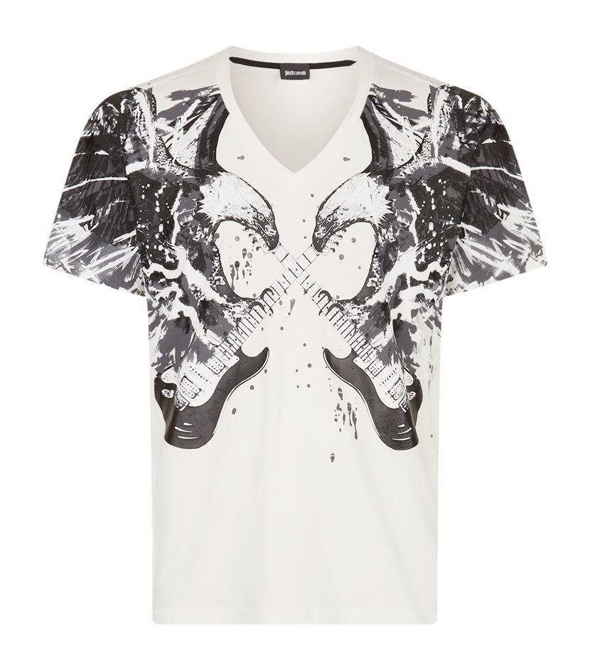 c88acbe25 Just Cavalli   Black V-neck Eagle And Guitar Print T-shirt for Men   Lyst