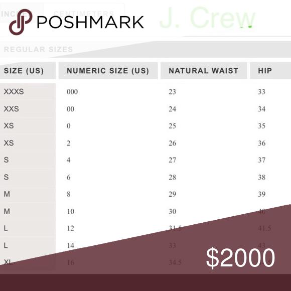 j crew size chart