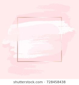 Brush Strokes In Gentle Pink Tones And Rose Gold Square Frame
