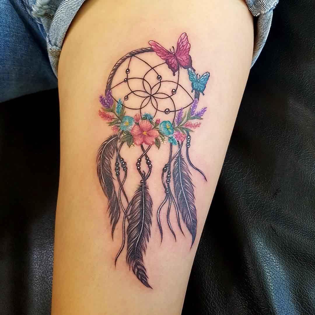 dreamcatcher tattoo with butterflies armtattoosdesigns