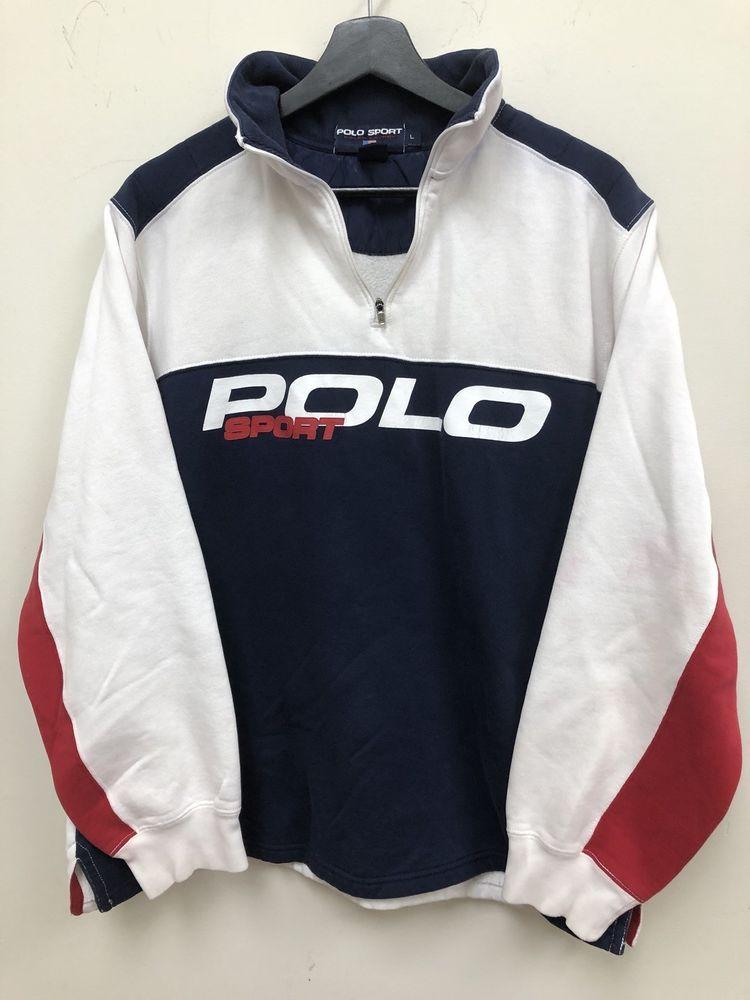 Vintage Polo Sport Fleece Sweatshirt Spellout Size L Free