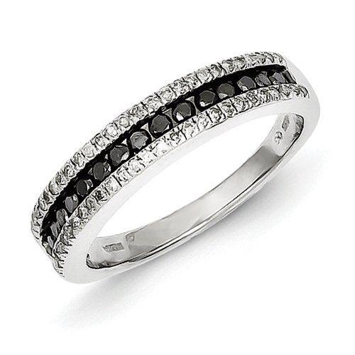 #blackdiamondengagement Sterling Silver Black and White Diamond Ring http://blackdiamondgemstone.com/black-engagement/sterling-silver-black-and-white-diamond-ring/