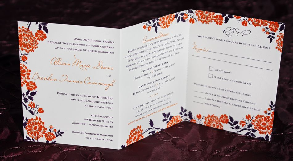 Orange Purple Fall Flowers Leaves Tri Panel All In One Wedding Invitations Orange Wedding Invitations Floral Wedding Invitations Wedding Invitations