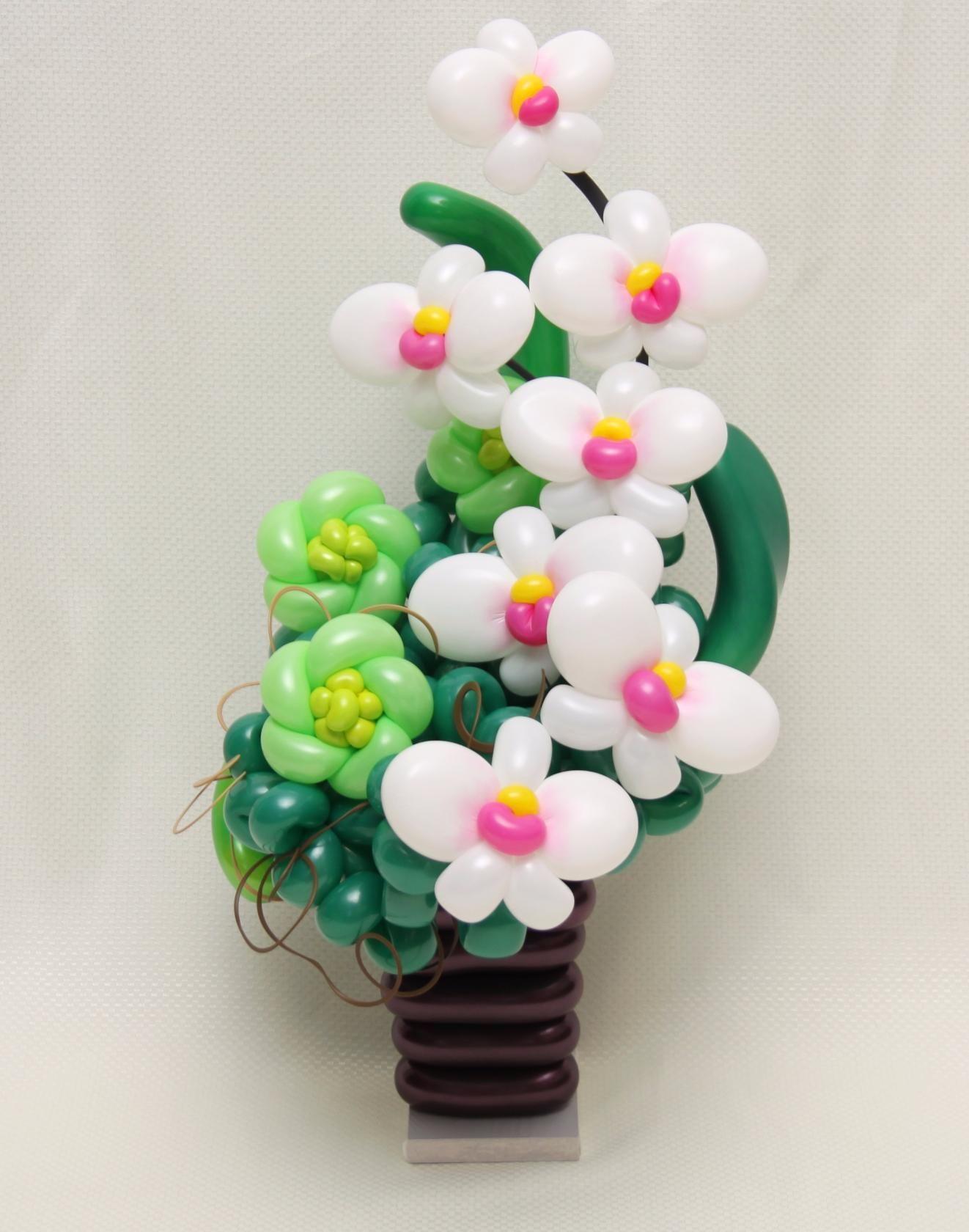 Цветы с сердечком из шаров