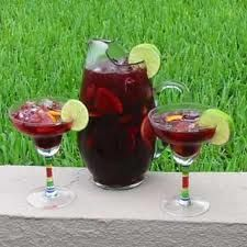 My friend gave me the greatest Sangria Recipe ever.  Very refreshing and delicious on a hot day.   This makes a lot, about 2 gallons.  1 box of Chillable Red Wine, 1/2 liter of peach schnapps, 1/2 liter of amaretto, 2-3 cups of pineapple-orange juice.  Mix together and serve over ice.  Promises to please all!