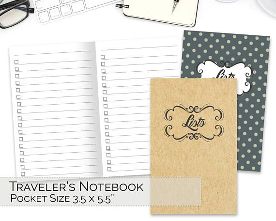 Pocket Tn Inserts Travelers Notebook Printable Field Notes
