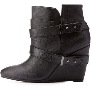 Charlotte Russe Black Belted Pointed Toe Wedge Booties by Charlotte Russe at Charlotte Russe