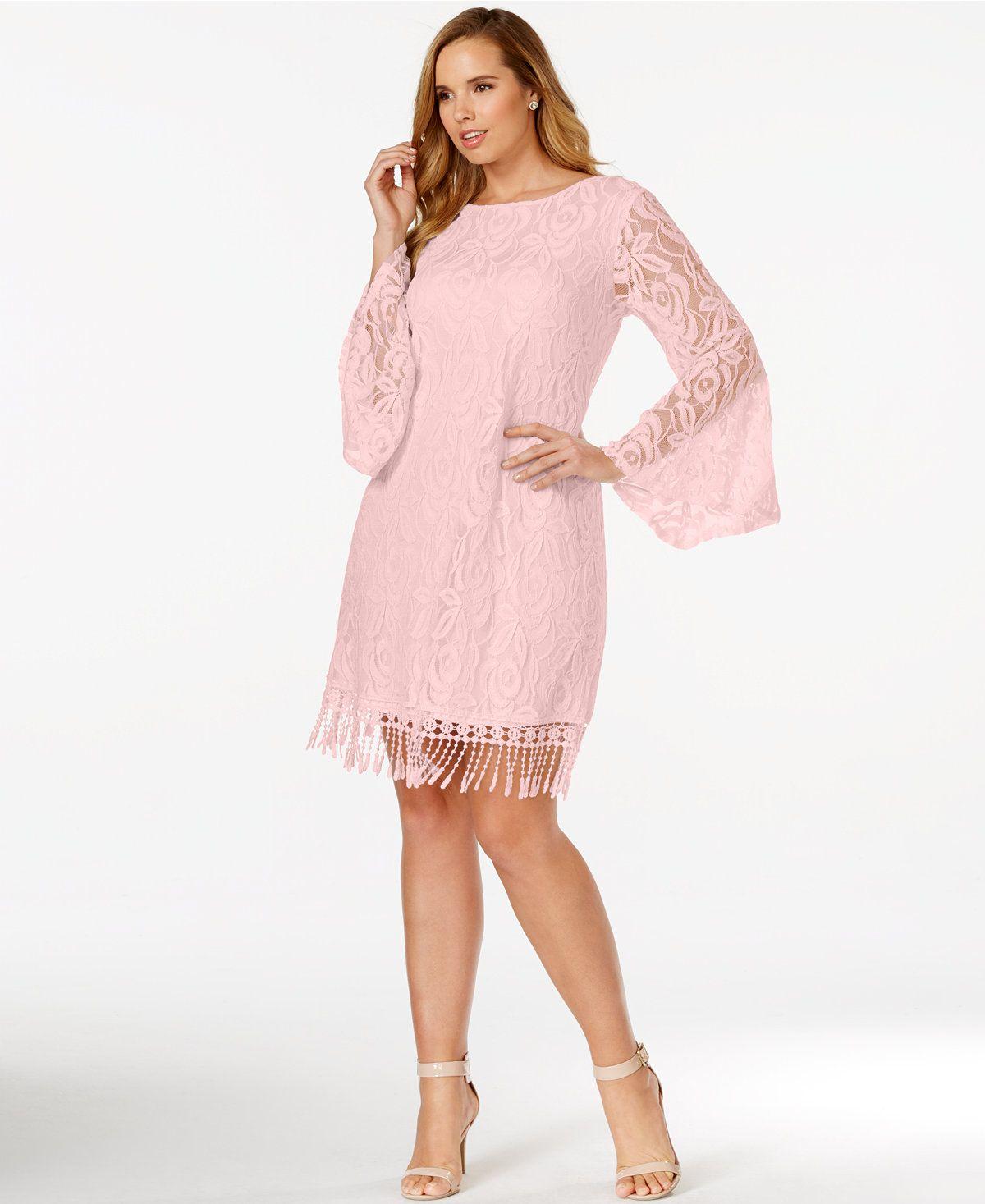 Lace dress macys  ING Plus Size Lace FringeTrim Dress  Fringe trim