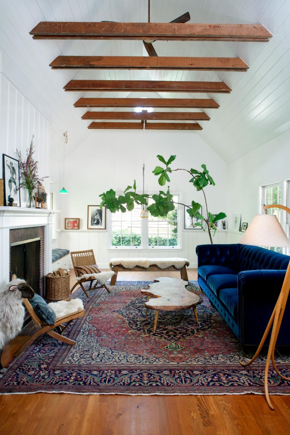 California Ranch House Redesigned With New England Charm Eclectic Living Room Home Decor Living Room Designs #ranch #house #living #room