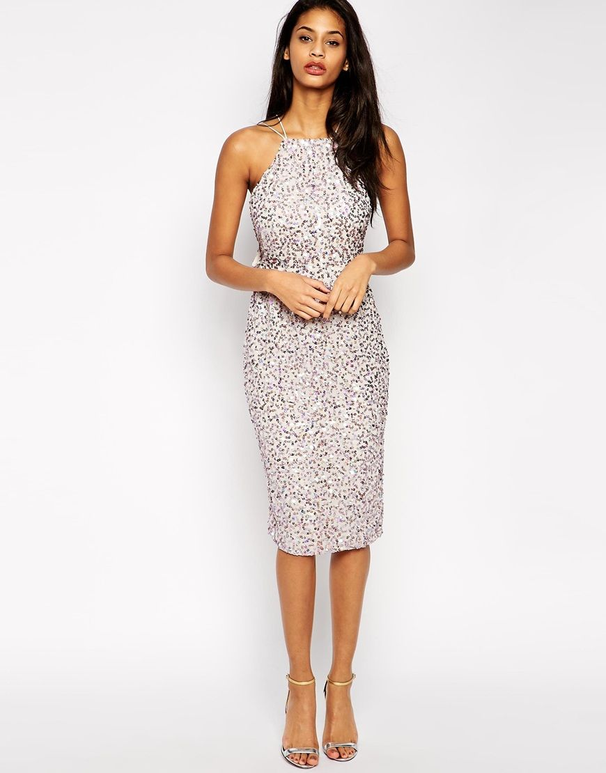 4ae4fd635e Image 4 of ASOS TALL Drape Back Pencil Dress with Iridescent Sequins