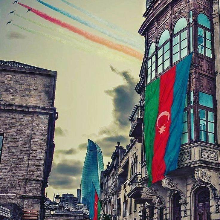 Azerbaijan Travel Azerbaijan Flag Blur Photo Background