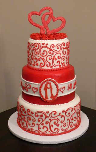 red and white wedding cake for a valentine's day wedding | wedding, Ideas
