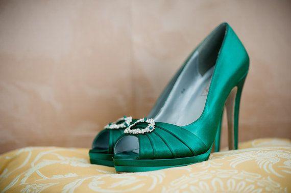 29789a0f046 Emerald Green Wedding Shoes- Green Irish Wedding Platform Heels With Crystal  - Choose From Over 200 Colors- Open Toe Platform Wedding Heels