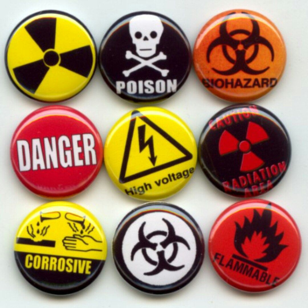 Warning danger signs symbols 9 pinback 1 buttons badges pins danger poison flammable explosive radioactive warning signs symbols pinback button set by yesware11 on etsy biocorpaavc Image collections