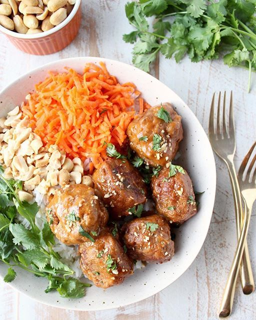These Slow Cooker Thai Peanut Turkey Meatballs, made with @jennieo turkey are a MUST MAKE this…
