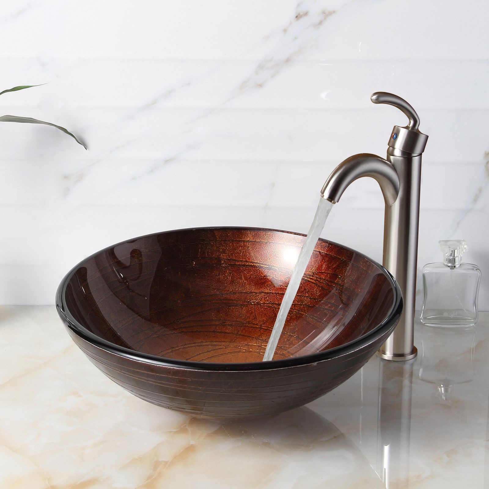 Elite 1312 882002 Modern Design Tempered Glass Bathroom Vessel Sink