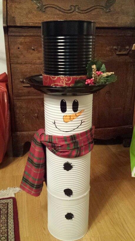 Aprende cómo decorar latas de leche para esta navidad navidad - outdoor snowman christmas decorations
