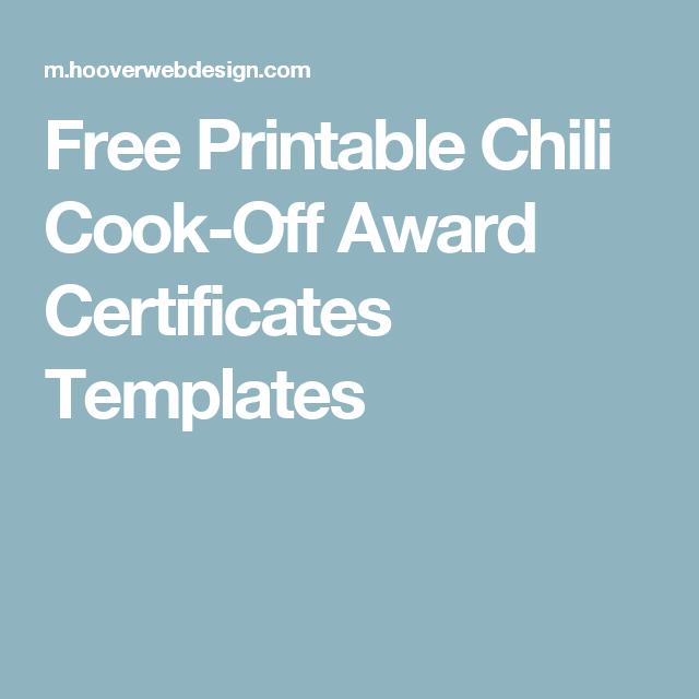 free printable chili cook off award certificates templates