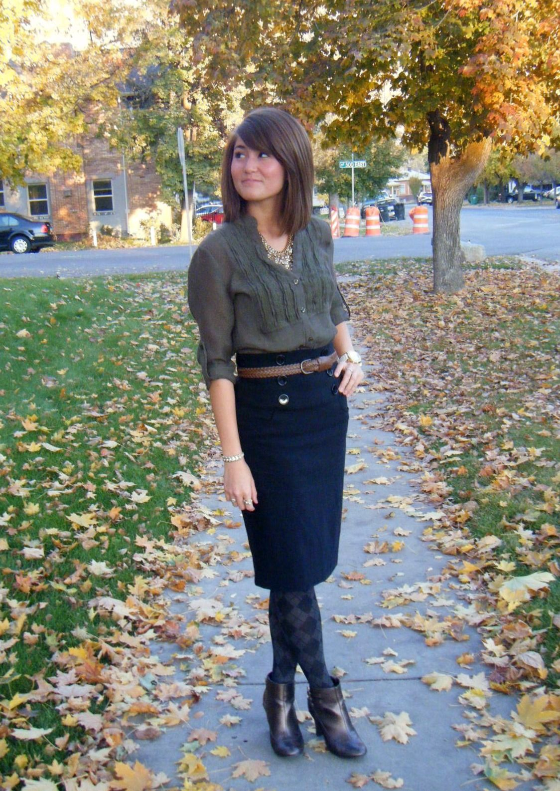 Ankle Boots Tights Pencil Skirt Get Dressed