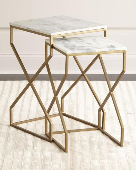 Br And Marble Nesting End Tables