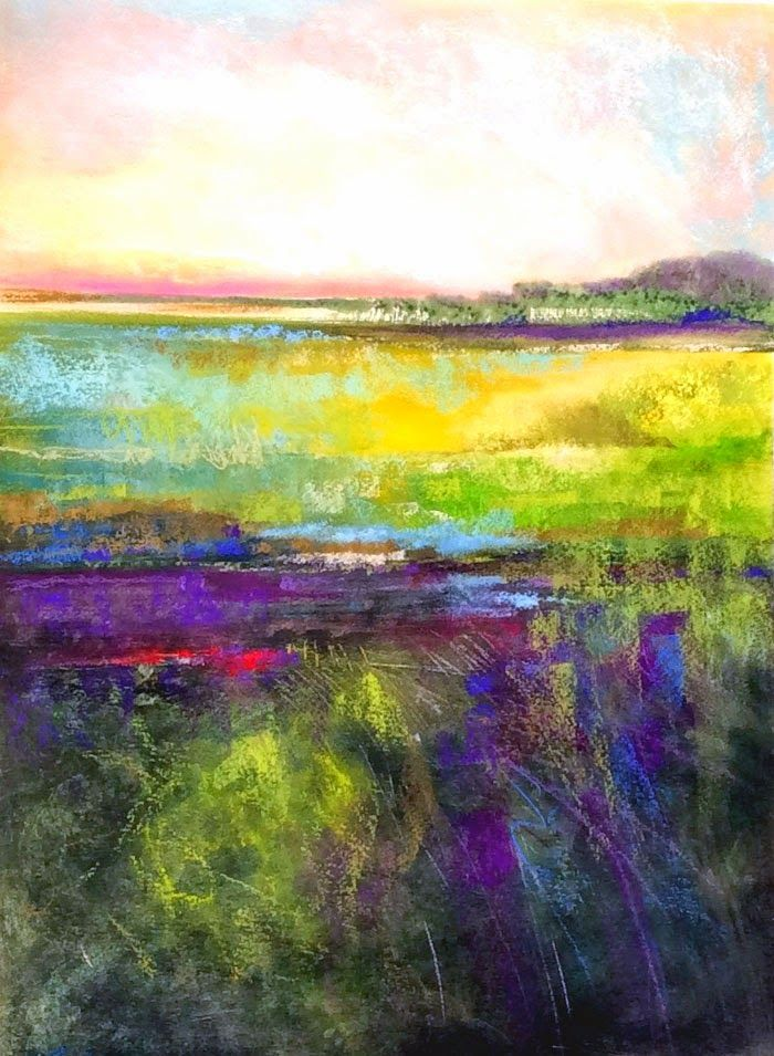 Engles Art: Louisiana Pasture Two, abstract landscape by Carol Engles