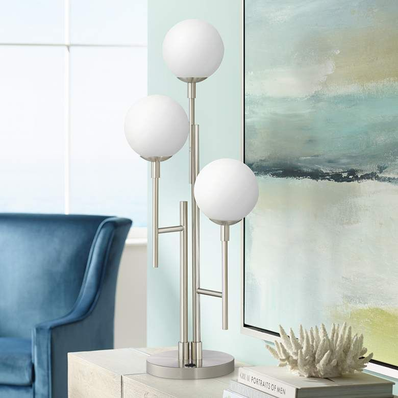 Comet 3 Light Modern Brushed Nickel Table Lamp 44v85 Lamps Plus Nickel Table Lamps Modern Table Lamp Tall Table Lamps