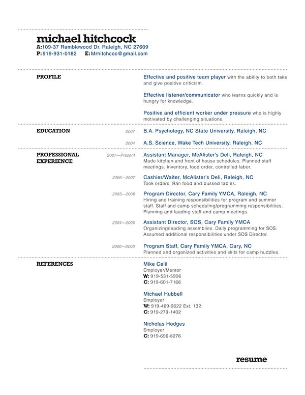 Hitchcock Resume Design On Behance Resume Design Resume