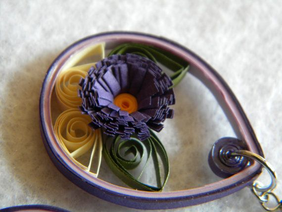 Medium Paper Quilled Earrings with Purple by ParchmentPerfection