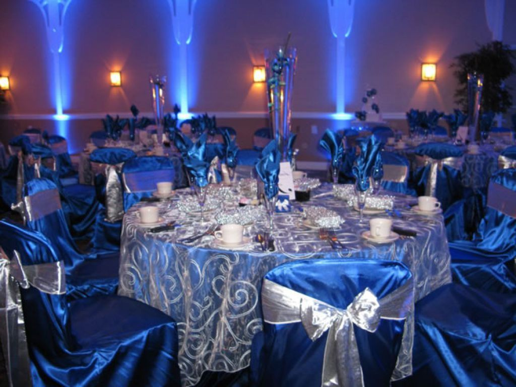 Royal Blue White And Silver Wedding Decorations Interior