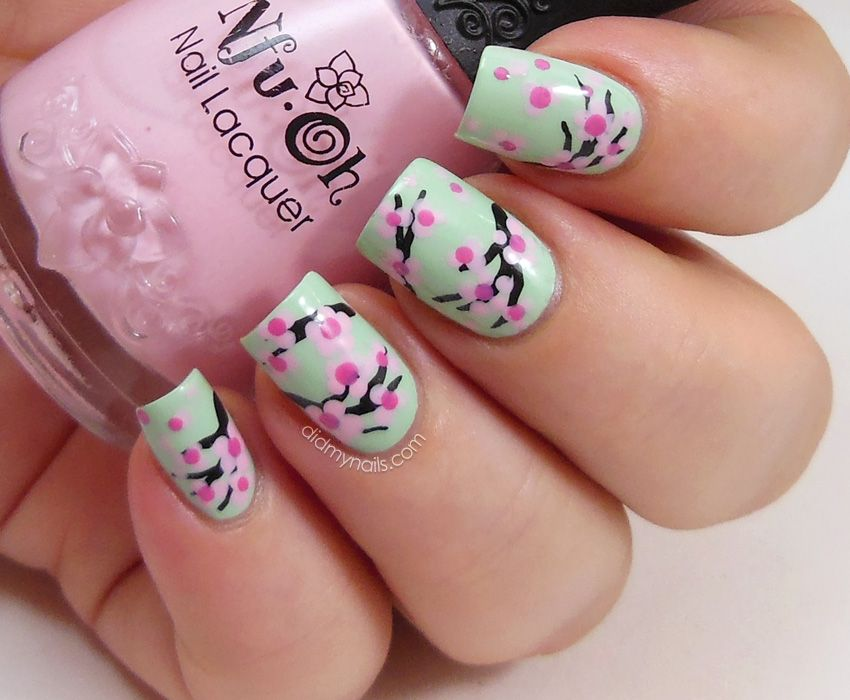 Did My Nails Cherry Blossom Nail Art Tutorial Nails Pinterest