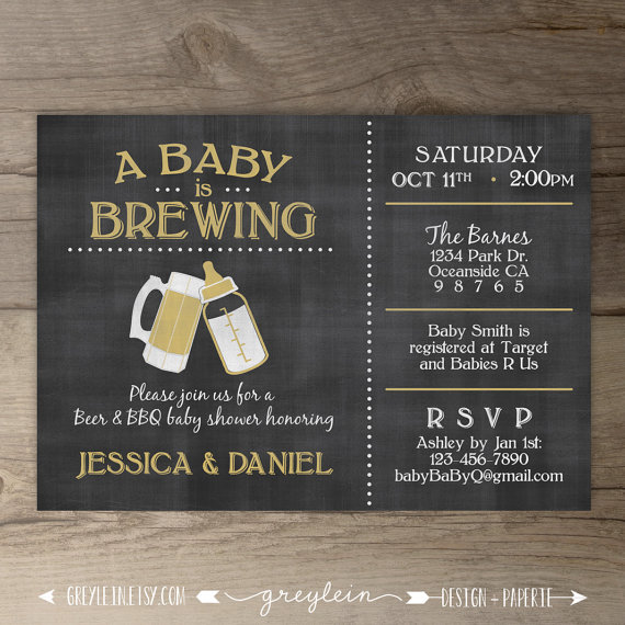 A Baby Is Brewing Brewery Baby Shower Invitation Guy Friendly Co