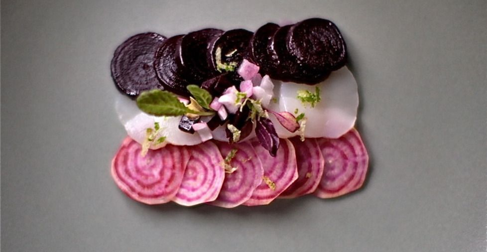 Scallop Crudo with Heirloom Beets - Chef Helen Cavallo