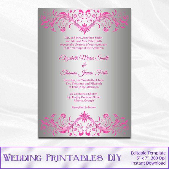 Pink And Silver Wedding Invitation By Weddingprintablesdiy On Etsy