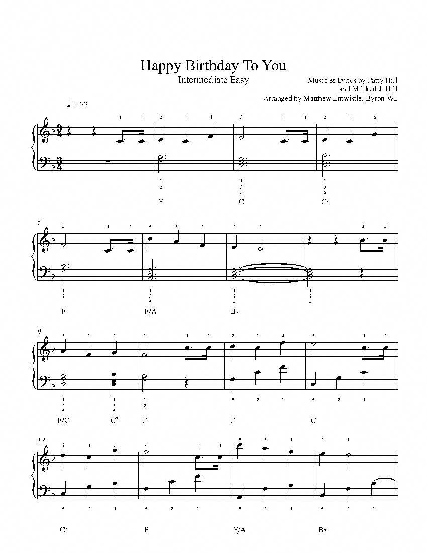 Happy Birthday To You By Mildred J Hill Piano Sheet Music