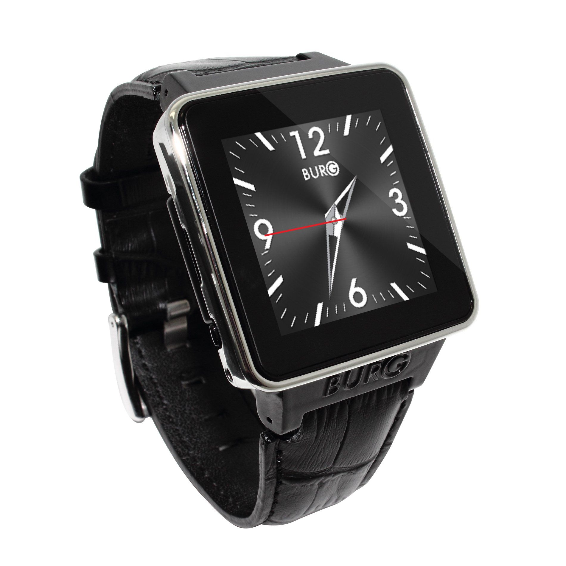 Black burg 16a smartwatch phone with sim card leather