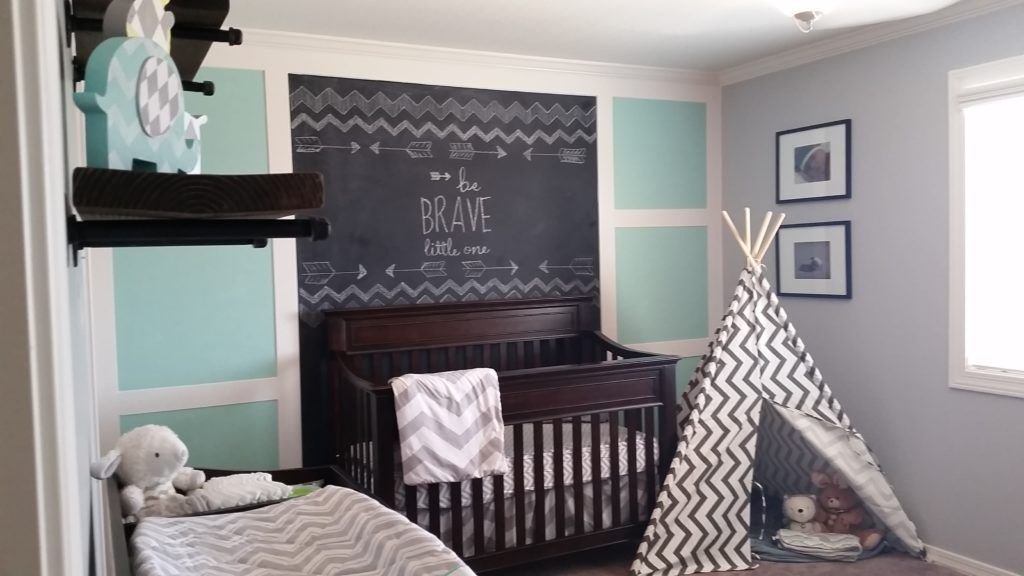 Chalkboard And Aqua Nursery