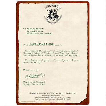 Personalized Hogwarts Acceptance Letter Chromaluxe Panel Want - hogwarts acceptance letter