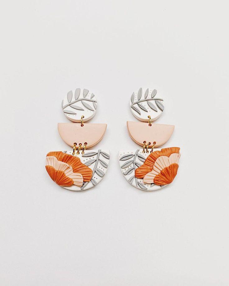 clay earrings mustard earrings ethically made jewellery handmade earrings Gingham earrings