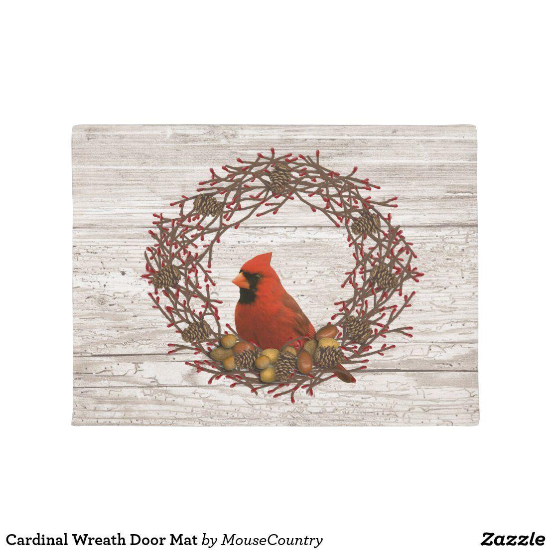 Cardinal Wreath Door Mat (With images) Door