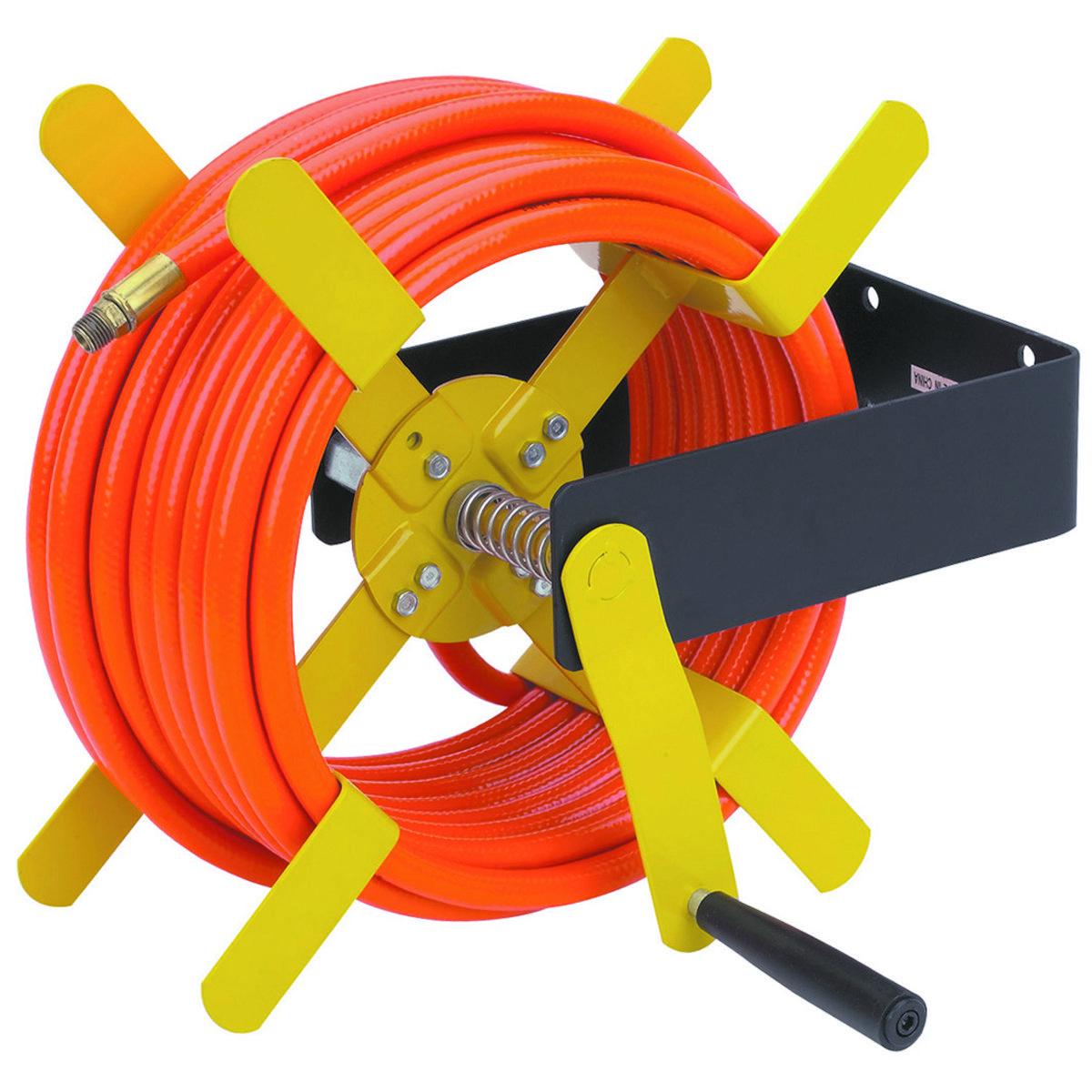 Mount this durable steel air hose reel vertically or