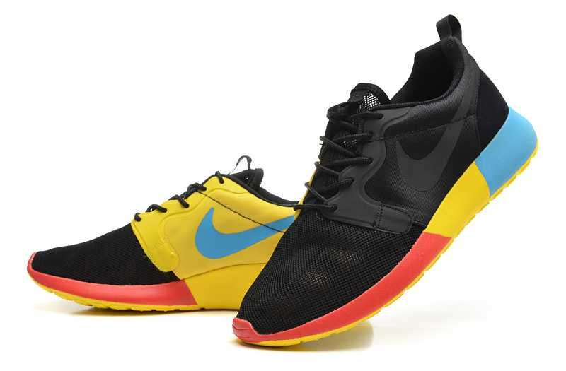 big sale 81040 83fdc Trainers - Nike Roshe Run Hyperfuse QS Mens Black Yellow Blue Red