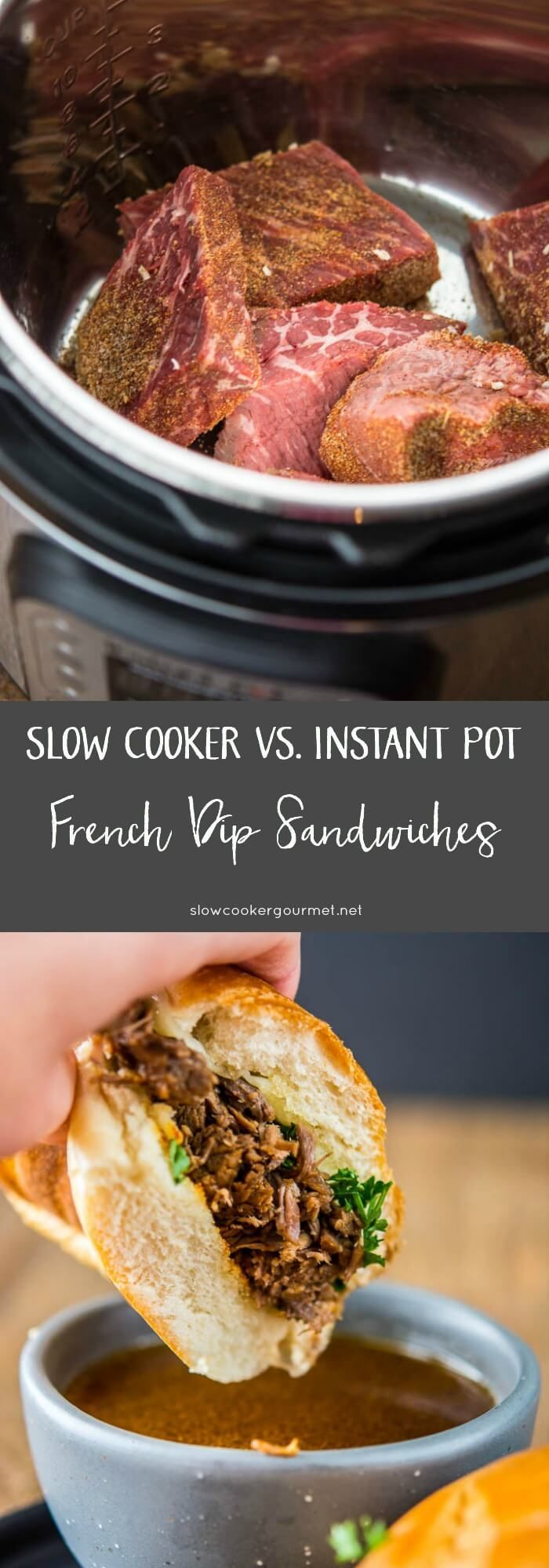Slow Cooker vs. Instant Pot French Dip Sandwiches