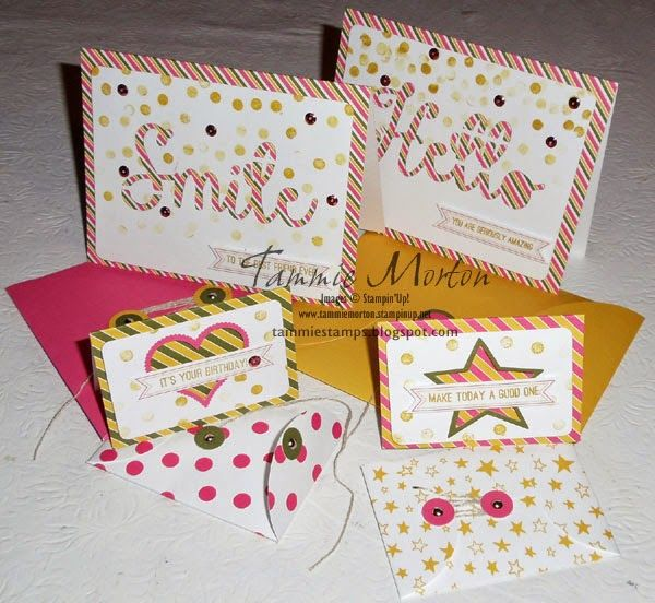 Tammie Stamps: Paper Pumpkin August Kit 2 sizes of fun cards in this kit make it perfect.  The cards are fun and so easy to put together.